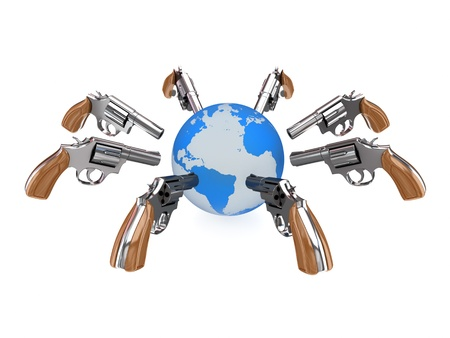 Revolvers aiming at planet Earth. 3d rendered isolated on white background. photo