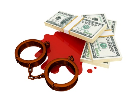 shackle: Shackles, dollar pack and bloody stain. 3d rendered. Isolated on white background.