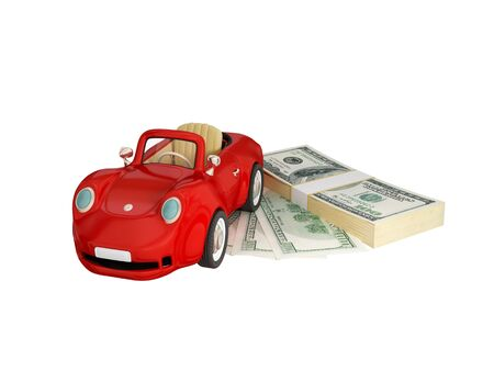 Red car and dollar pack.  3d rendered. Isolated on white background. photo