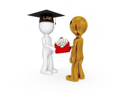 3d small people. Lawyer, client and money pack. Isolated on white background. Stock Photo - 12171123