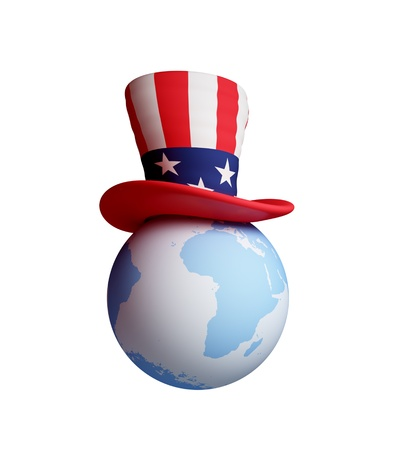 Uncle's Sam hat on a planet Earth. 3d rendered. Isolated on white background. Stock Photo - 12169532