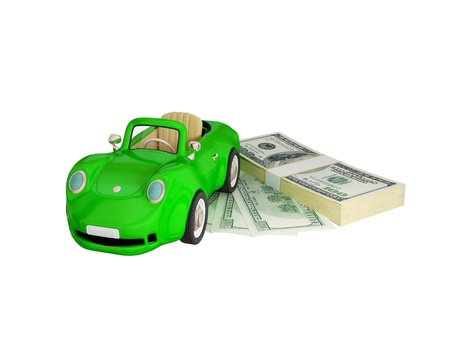 Green car and dollar pack.  3d rendered. Isolated on white background. photo