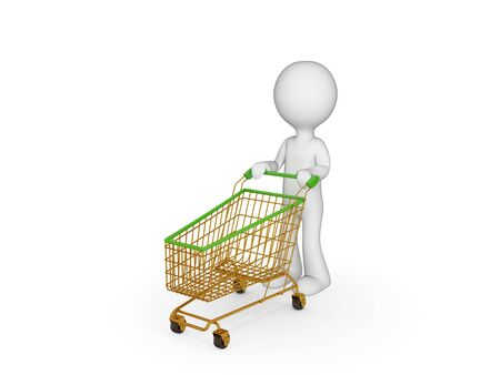 3d small person with shopping trolley. Isolated on white. photo