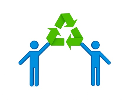3d small people and recycle symbol. 3d rendered. Isolated on white background.