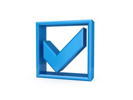verify: Blue checkmark icon. Isolated on white background. 3d rendered.