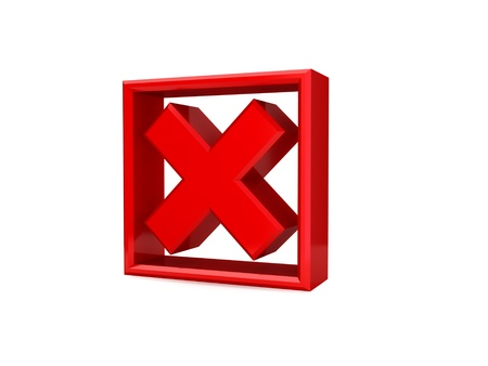 disagreement: Red cross mark. 3d rendered. isolated on white background. Stock Photo