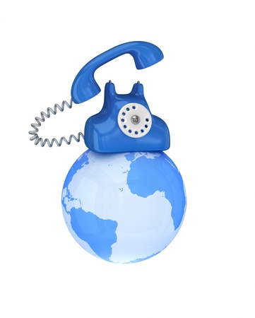Blue retro telephone on a globe. 3d rendered. Isolated on white background. photo
