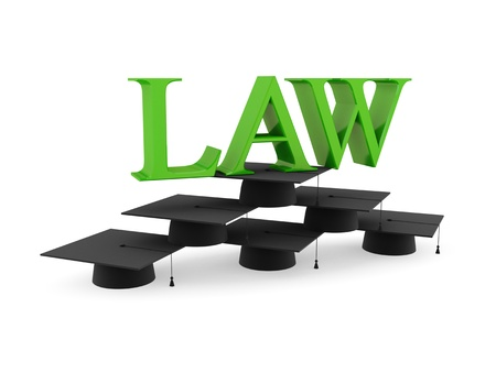 Lawyer's hats and green word LAW. 3d rendered. Isolated on white background. photo