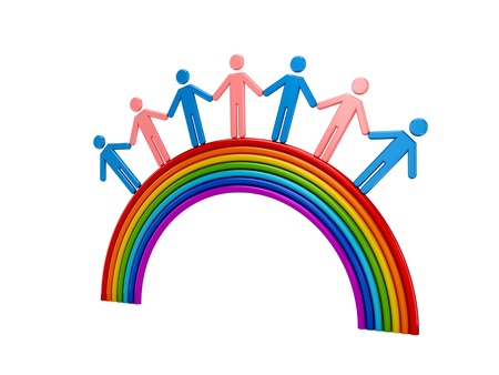 bisexual: 3d small people standing on a rainbow. Isolated on white background.