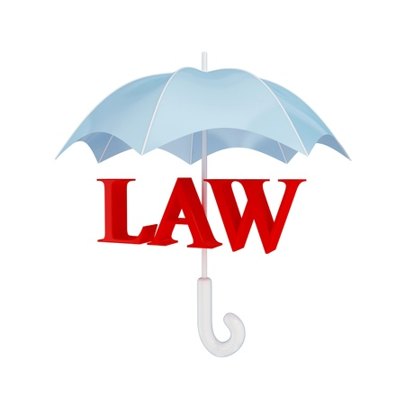 Word LAW under umbrella. 3d rendered. Isolated on white background. Stock Photo - 12171986