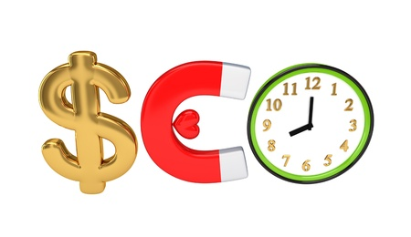 Word SEO composed of dollar sign, magnet, watch and small heart. Stock Photo - 12217721