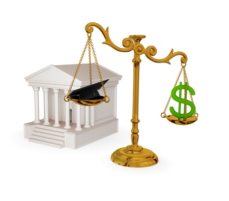 subornation: Court, vintage scales, dollar sign and lawyers hat. 3d rendered. Isolated on white. Stock Photo