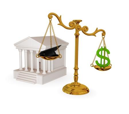 TrybunaÅ', zabytkowe wagi, znak dolara i prawnika kapelusz. 3d Å›wiadczonych. Pojedynczo na biaÅ'ym. Zdjęcie Seryjne - 12171372