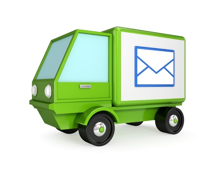 Postal truck. 3D rendered. Isolated on white background. Stock Photo - 12174350