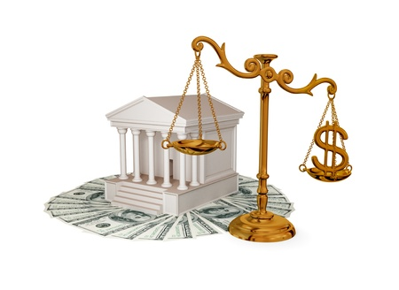 subornation: Court, money, golden scales with dollar sign. 3d rendered. Isolated on white background. Stock Photo