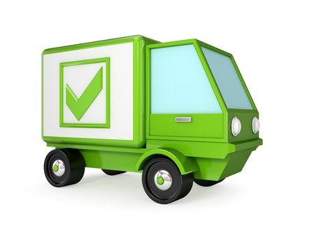Green truck with a green tick mark. 3D rendered. Isolated on white background. Stock Photo - 12174436