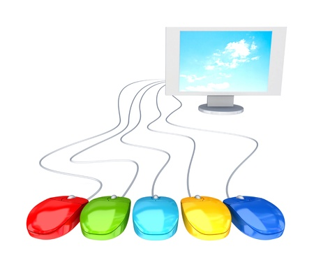 Monitor and five red mouses. Distance access concept. 3d rendered. Isolated on white. photo