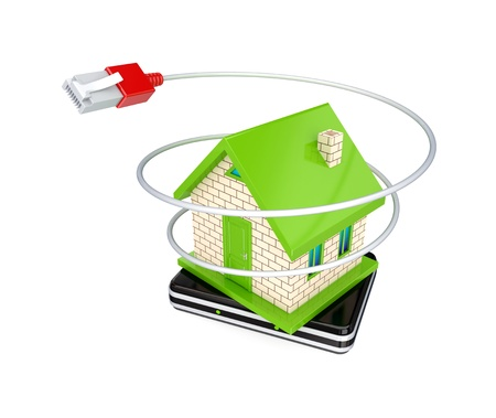 Small house, router and patchcord. 3d rendered. Isolated on white background. photo