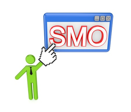 3d small person pointing on a  word SMO. Isolated on white background. photo