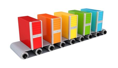 cinta transportadora: PCs de colores sobre transportador. 3D prestados. Aislado sobre fondo blanco.