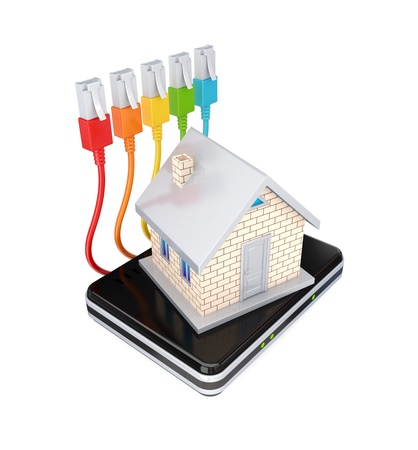 Small house, router and colorful patchcords. 3d rendered. Isolated on white background. Stock Photo - 12218009