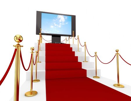 Red carpet on a stairs and LCD monitor. 3d rendered. Isolated on white background. photo