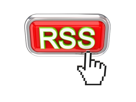 Cursor pushing red RSS button. 3d rendered. Isolated on white background. photo