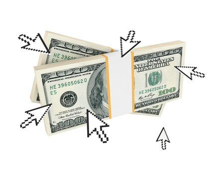 Cursors pointing on dollar packs. 3d rendered. Isolated on white background. photo