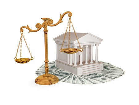 subornation: Court, dollars and vintage golden scales. 3d rendered. Isolated on white. Stock Photo