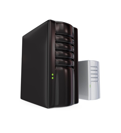 Big black server PC and the small one. 3d rendered. Isolated on white background. photo