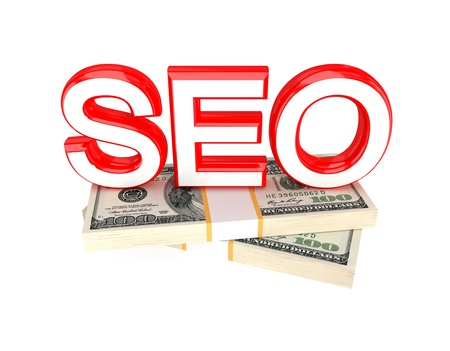smo: Word SEO and money packs. 3d rendered. Isolated on white background. Stock Photo