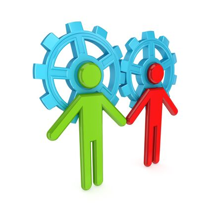 3d small people merged with a blue gears. Teamwork concept. 3d rendered. Isolated on white background. Stock Photo - 12171943