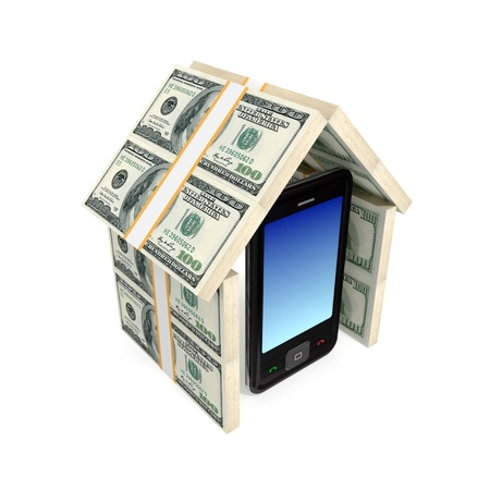Modern mobile phone under the roof made of money. 3d rendered. Isolated on white background. photo