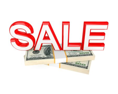 money packs: Word SALE and money packs. 3d rendered. Isolated on white background.