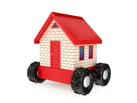 Small house on a big black wheels. 3D rendered. Isolated on white background. Stock Photo - 12223809