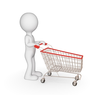 holiday shopping: 3d small person with shopping trolley. Isolated on white.
