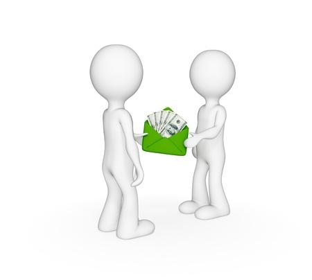 pagando: 3D personas pequeñas que dan dinero unos a otros. Aislado sobre fondo blanco.