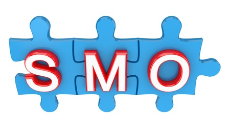 Puzzle with a word SMO. 3d rendered. Isolated on white background. photo