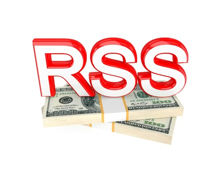 Word RSS and money packs. 3d rendered. Isolated on white background. photo