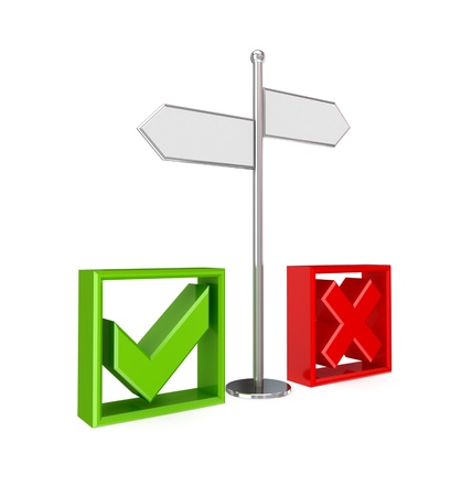 Crossroad, tick mark and cross mark. 3d rendered. Isolated on white background. photo