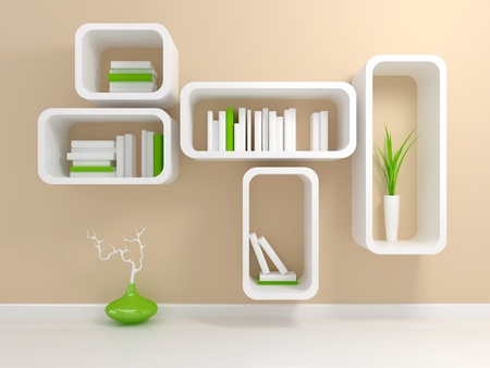 Modern white bookshelf with a white and green books against beige wall. photo