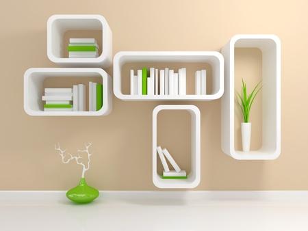 mensole: Moderna libreria bianca con un paio di libri bianchi e verdi contro il muro beige. Archivio Fotografico