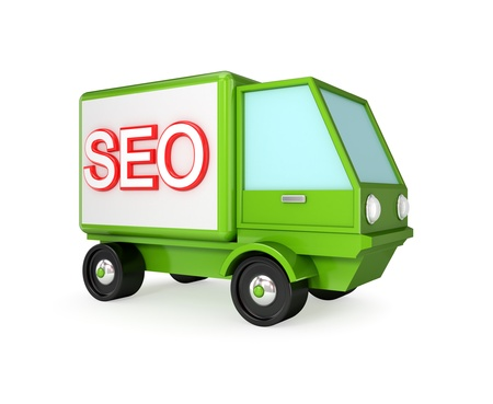 Green truck with a word SEO on a body. 3d rendered. Isolated on white background. Stock Photo - 12171087