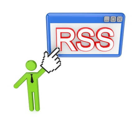 3d small person pointing on a word RSS. Isolated on white background. Stock Photo - 12172101