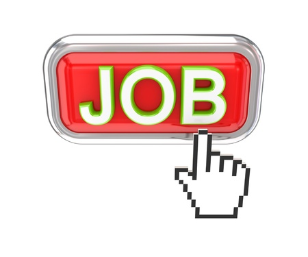 JOB button and white cursor. 3d rendered. Isolated on white background. photo