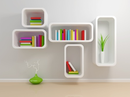 White bookshelf with a white and green books against beige wall. photo