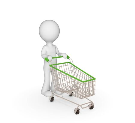 character illustration: 3d small person with shopping trolley. Isolated on white.