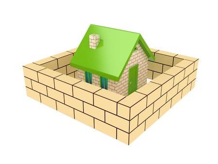 Brick wall around small house. 3d rendered, Isolated on white background. photo