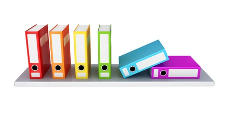 Colorful office folder on a shelf. 3D rendered. Isolated on white background. photo