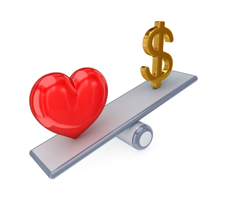 medical decisions: Red heart and dollar sign on simple scales. 3d rendered. Isolated on white background.